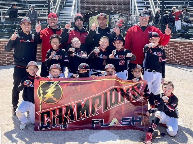 9U boys Flash baseball team with coaches champions of the USSSA battle of the states